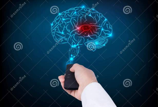 woman-holding-tv-remote-control-brain-blue-background-82066233