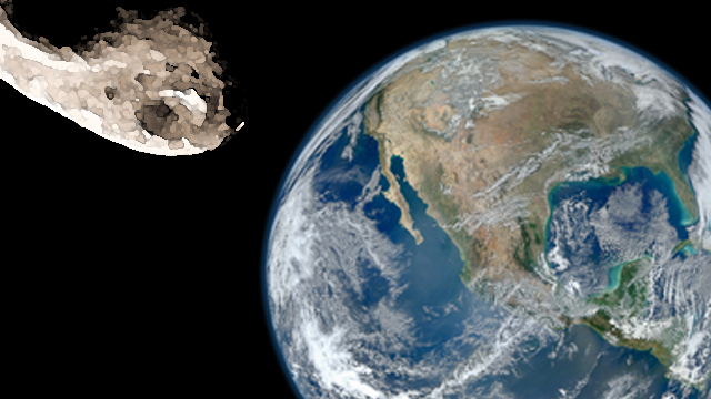 earth-and-asteroid
